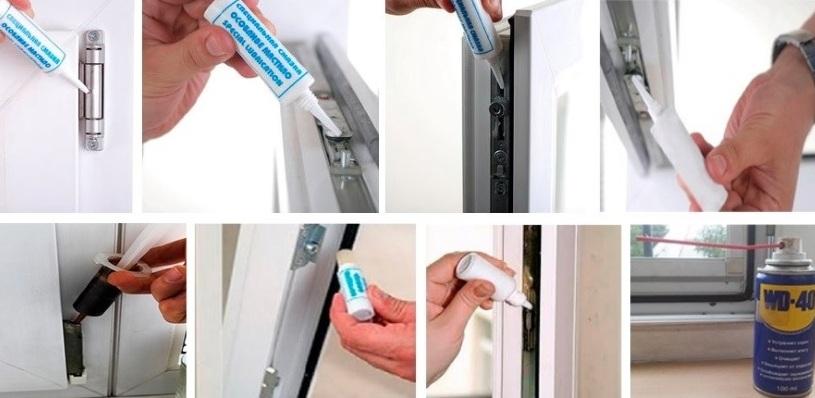 Инструменты и материалы для смазки окон